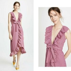 Misa LA Stella Gingham Ruffle Midi Dress Medium